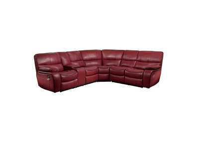 Red 3-Piece Modular Reclining Sectional with Left Console,Homelegance