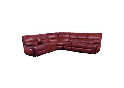 Red 4-Piece Modular Reclining Sectional with Left Console,Homelegance