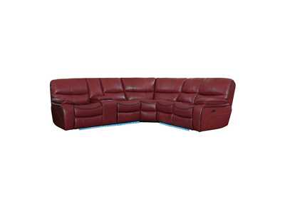 Red 3-Piece Modular Power Reclining Sectional with Left Console and LED,Homelegance
