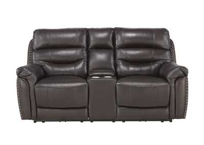 Image for Brown Power Double Reclining Love Seat with Center Console, Power Headrests and USB Ports