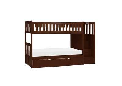 Image for Cherry Twin/Twin Step Bunk Bed with Twin Trundle