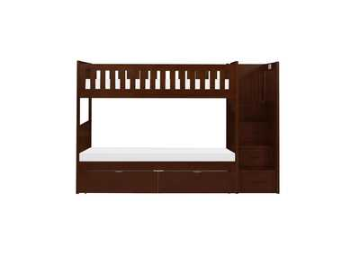 Image for Cherry Twin/Twin Step Bunk Bed with Storage Boxes