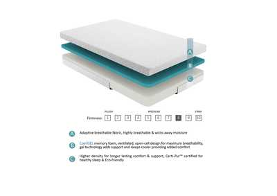 Image for G 6'' Gel-Infused Memory Foam-Bedding White Twin Mattress