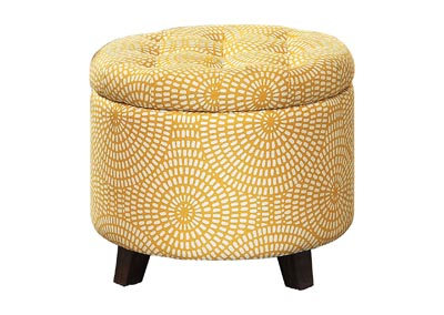 Image for Cleo Yellow print Storage Ottoman