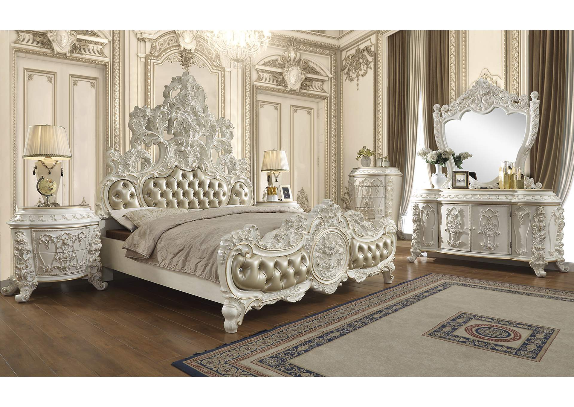 Picture of: Antique White Gold Eastern King Bed Sam S Furniture And Mattress