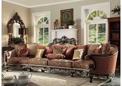 Image for Dark Red Mahogany Sectional Sofa