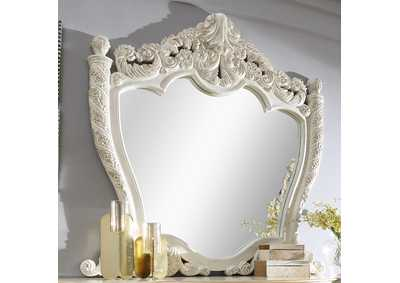 Image for Antiqued White & Gold Brush Highlights Mirror
