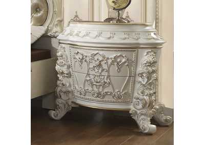 Image for Antiqued White & Gold Brush Highlights Nightstand