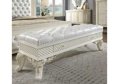 Image for White Gloss & Gold Brush Bench