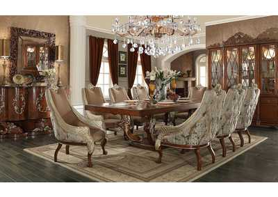 Image for Brown Cherry 9 Piece Dining Set W/ 8 Chairs