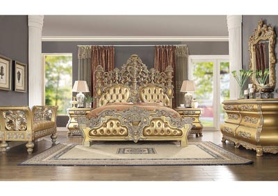 Image for Metallic Bright Gold Eastern King Bedroom Set W/ Dresser, Mirror, Nightstand