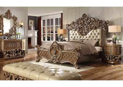 Image for Antique Gold & Brown Eastern King Bedroom Set W/ Dresser, Mirror, Nightstand