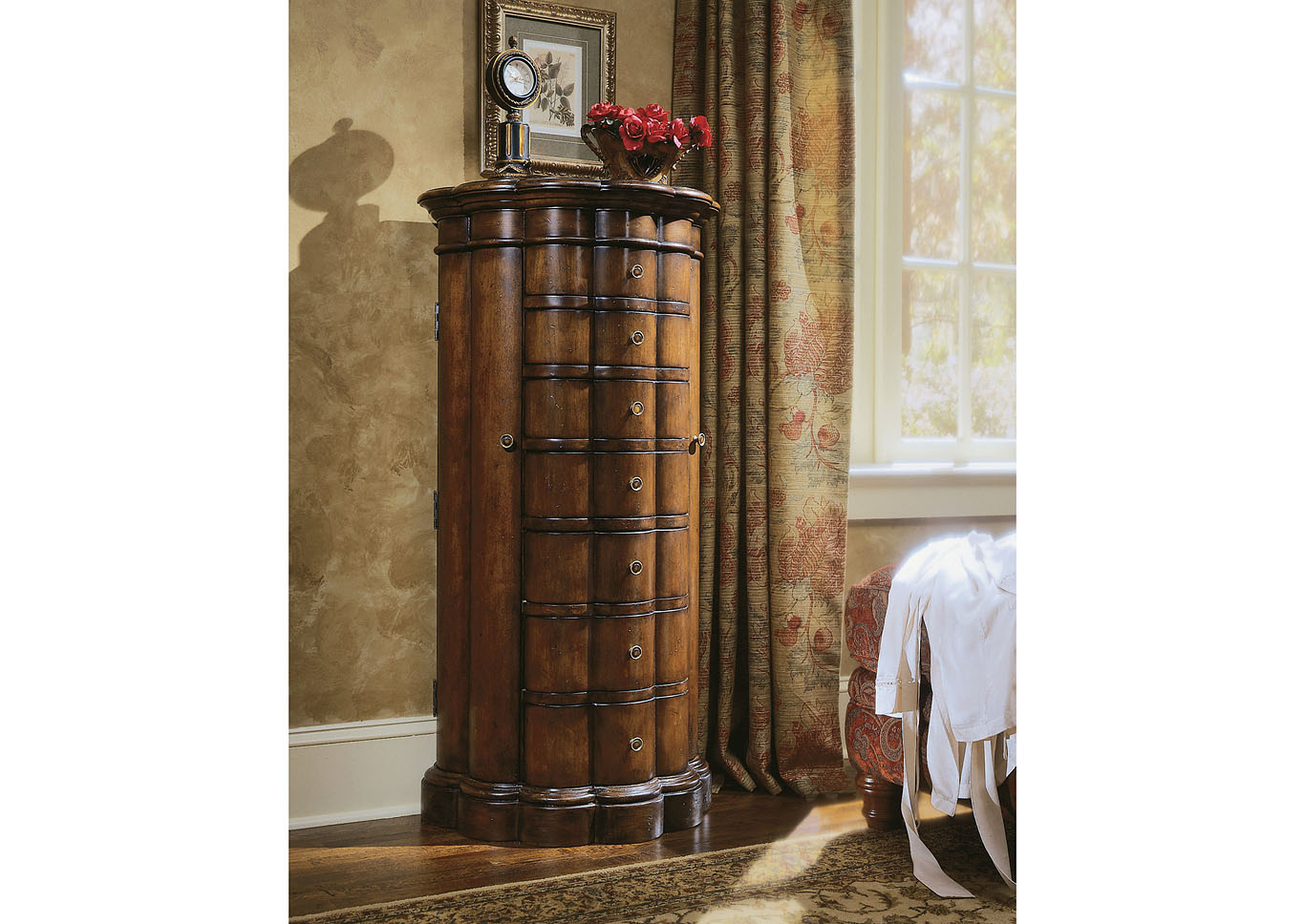 Shaped Jewelry Armoire-Cherry,Hooker Furniture
