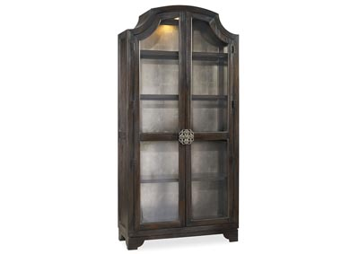 Image for Sanctuary Glass Bunching Curio-Ebony Antiqued Oak