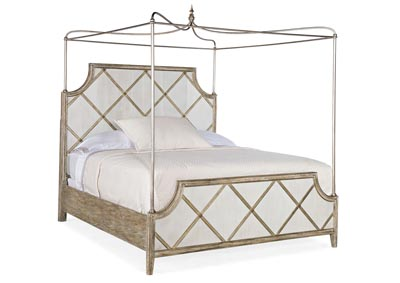 Image for Sanctuary 2 Quill Gray Diamont Canopy King  Panel Bed