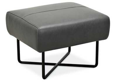 Image for Grey Efron Ottoman w/ Black Metal Base