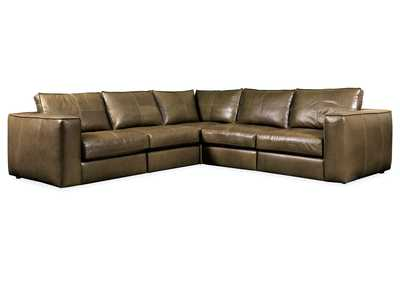 Image for Brown Solace Leather Stationary Sectional