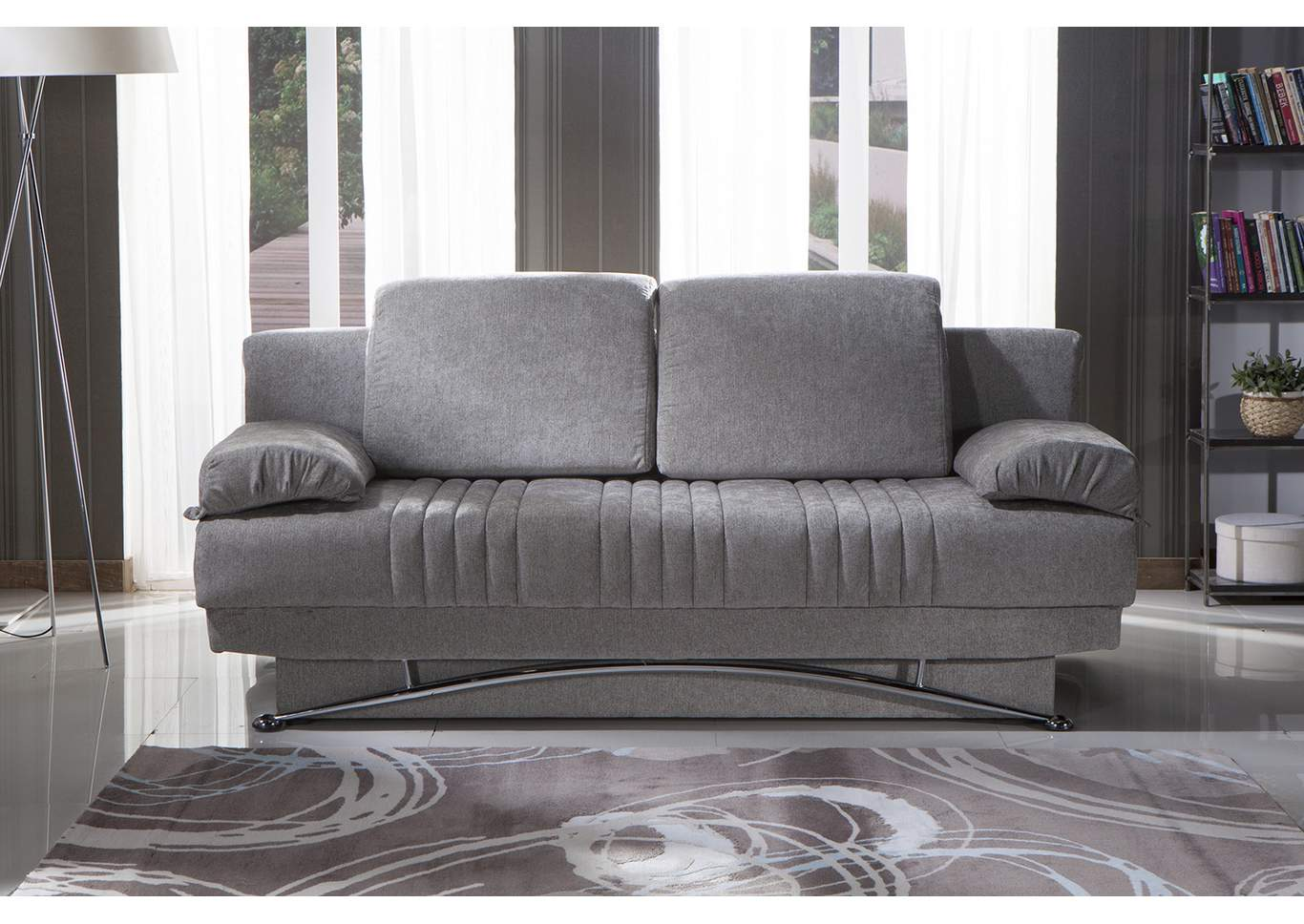 Fantasy Valencia Grey Plain Fabric 3 Seat Sleeper Sofa,Hudson Furniture & Bedding