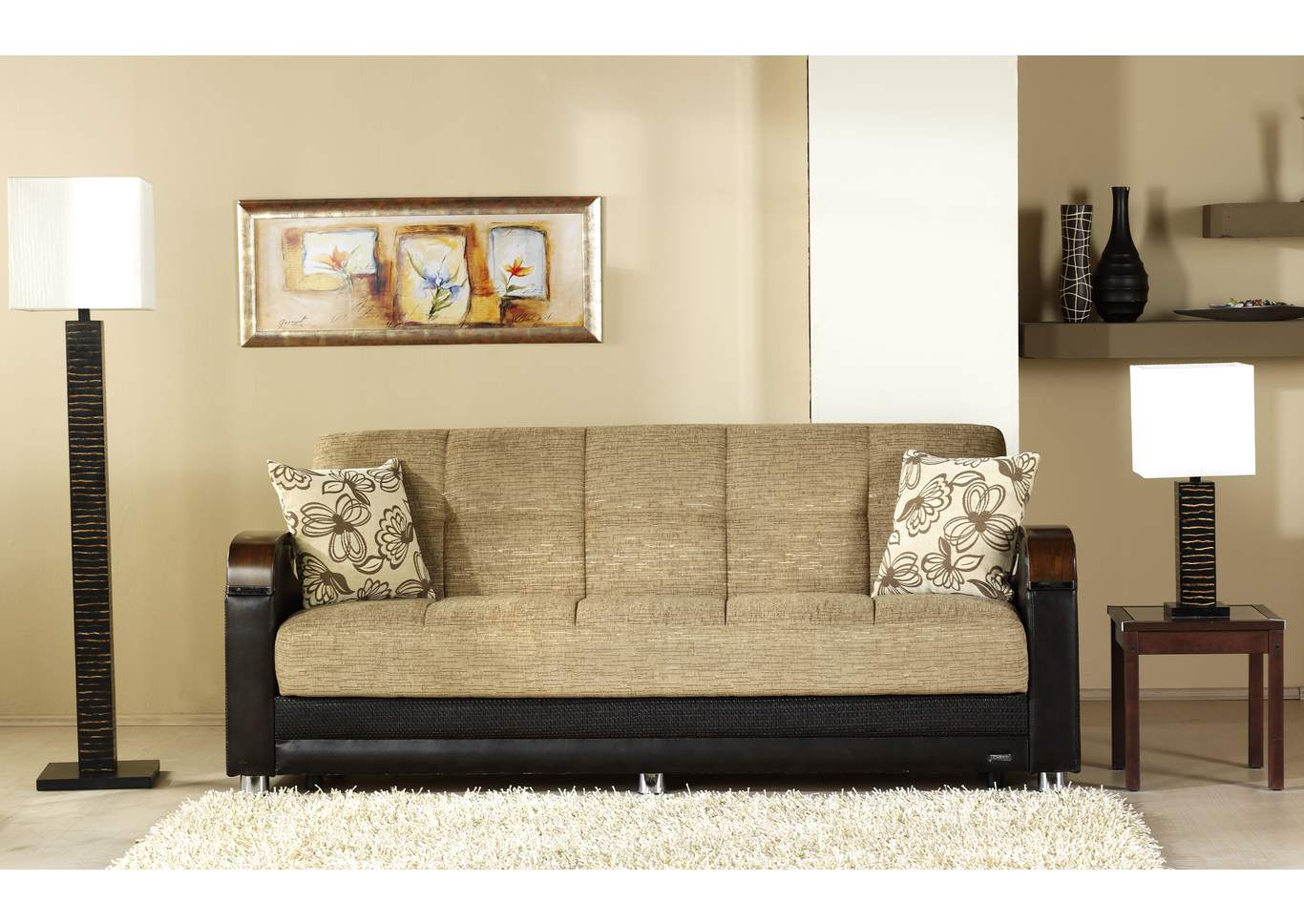 Luna Fulya Brown 3 Seat Sleeper Sofa,Hudson Furniture & Bedding