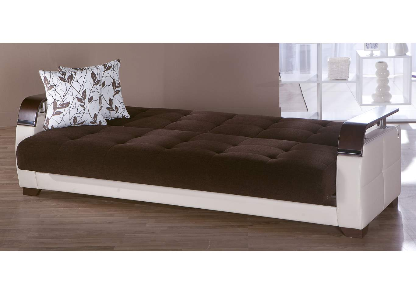 Natural Colins Brown 3 Seat Sleeper Sofa,Hudson Furniture & Bedding