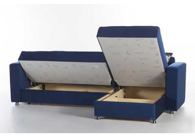 Image for Elegant Roma Navy Sectional Storage Chaise (No Loveseat)
