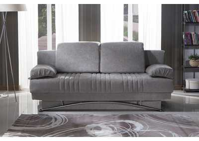 Fantasy Valencia Grey Plain Fabric 3 Seat Sleeper Sofa