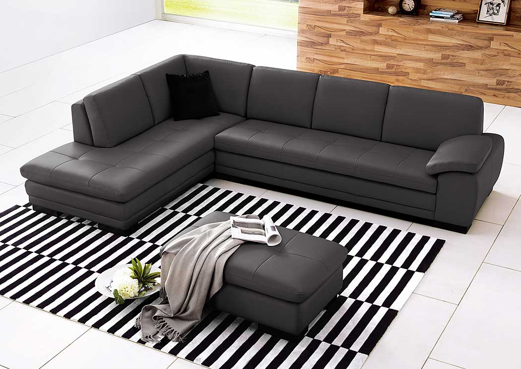 625 Italian Leather Sectional Grey in Left Hand Facing,J&M Furniture