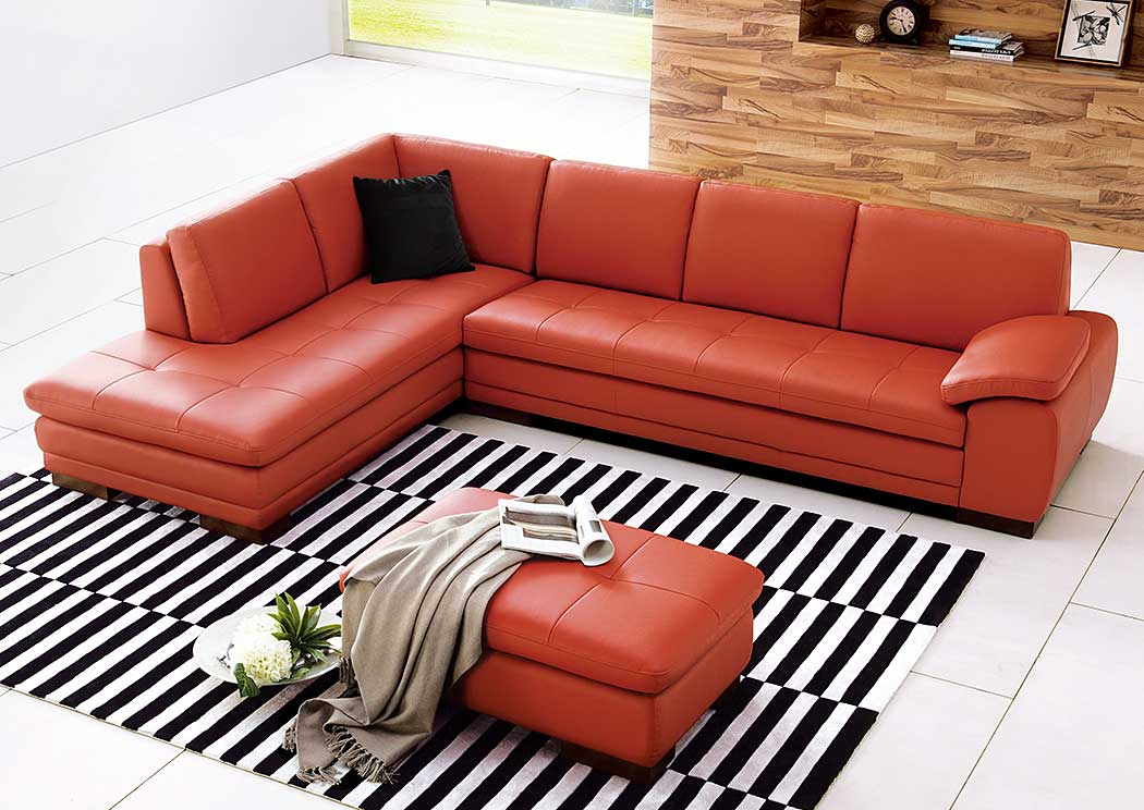 625 Italian Leather Sectional Pumpkin in Left Hand Facing,J&M Furniture