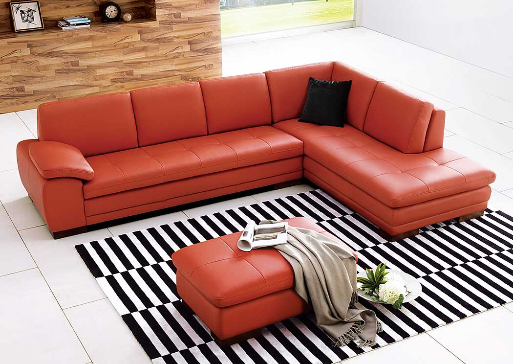 625 Italian Leather Sectional Pumpkin in Right Hand Facing,J&M Furniture