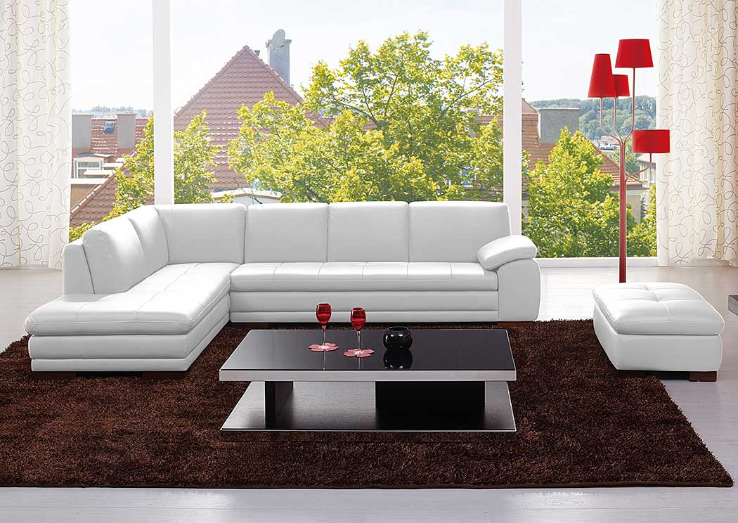 625 Italian Leather Sectional White in Left Hand Facing,J&M Furniture