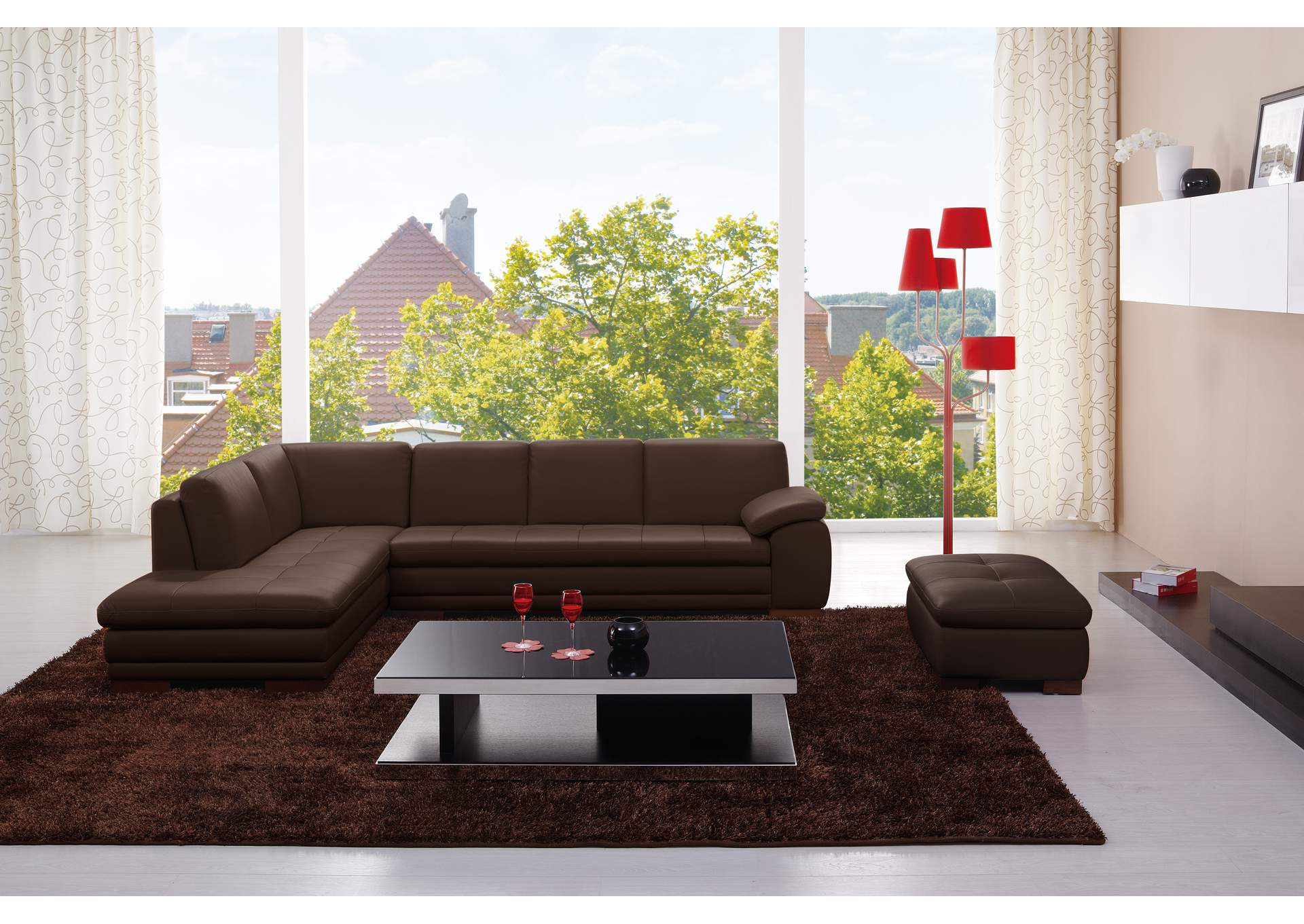 625 Italian Leather Sectional Brown in Left Hand Facing,J&M Furniture