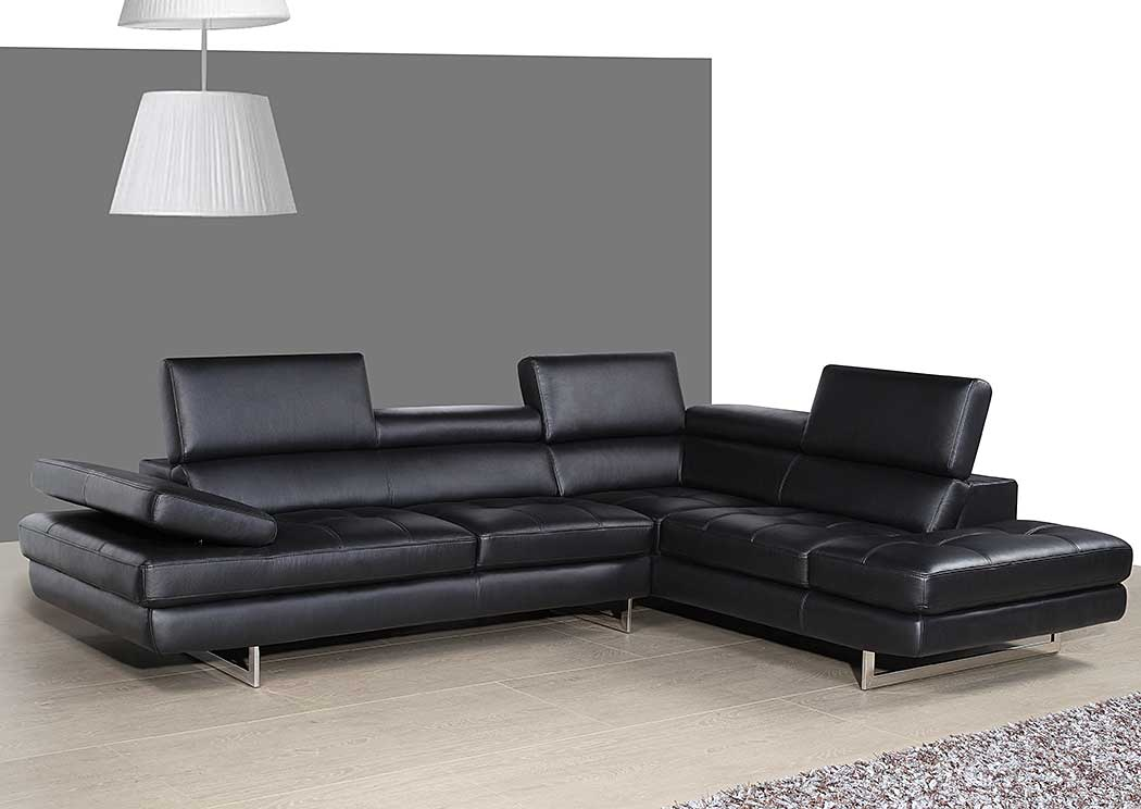 A761 Italian Leather Sectional Slate Grey In Right Hand Facing,J&M Furniture