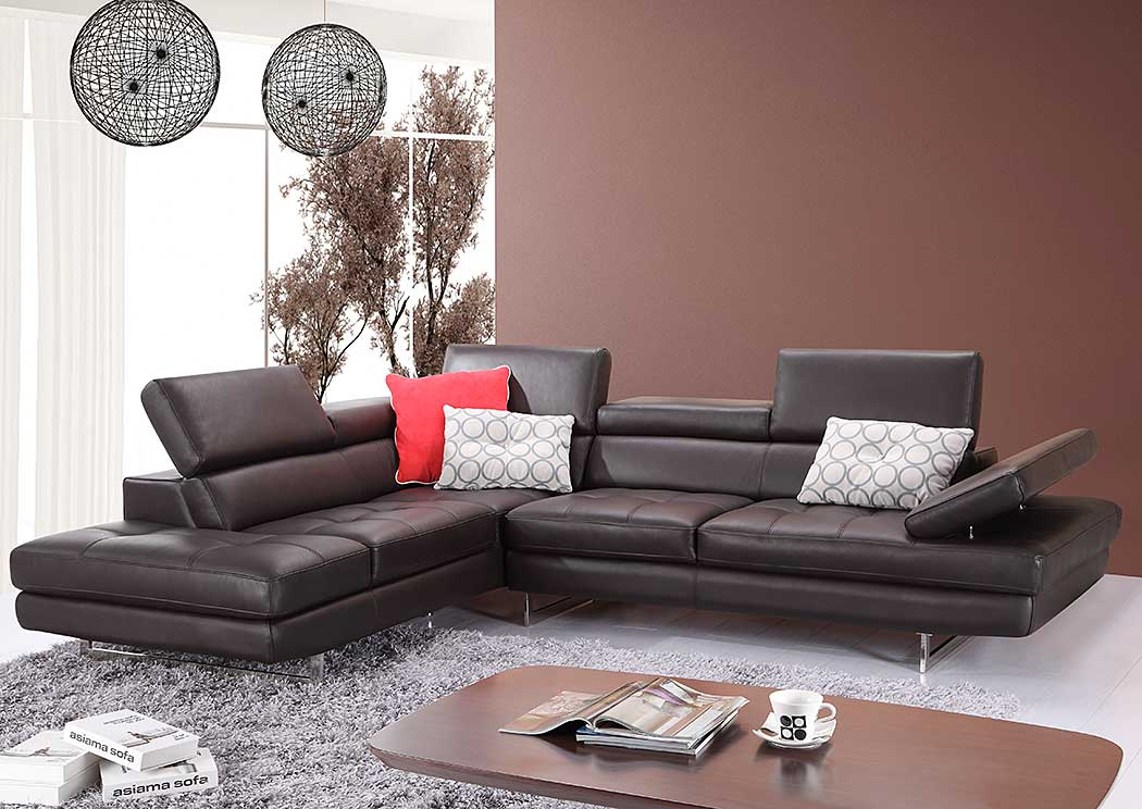 A761 Italian Leather Sectional Slate Coffee In Left Hand Facing,J&M Furniture