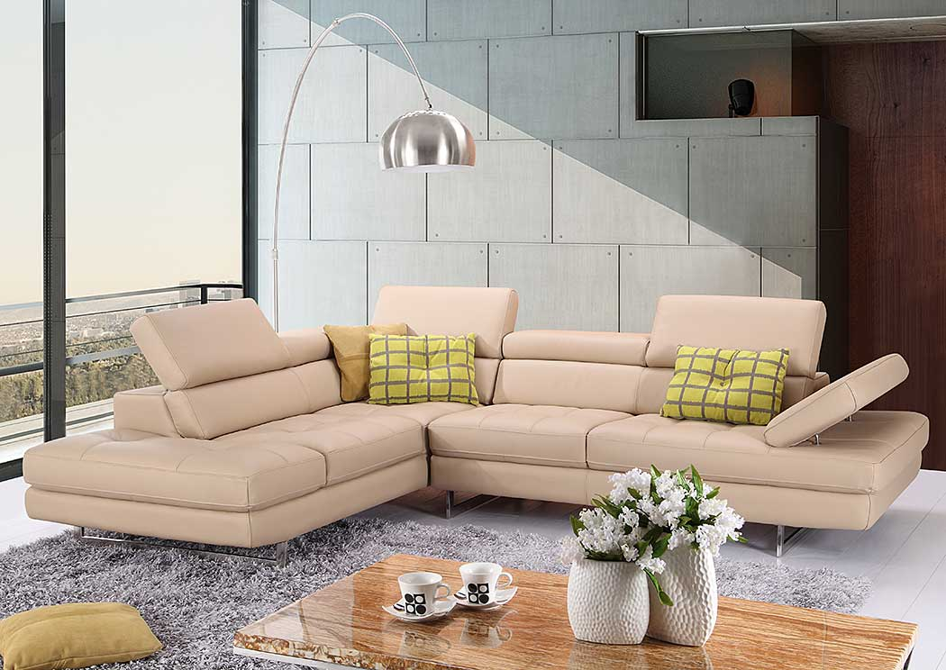 A761 Italian Leather Sectional Peanut In Left hand Facing,J&M Furniture