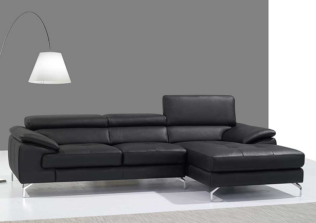 A973B Italian Leather Mini Sectional Right Facing Chaise in Black,J&M Furniture