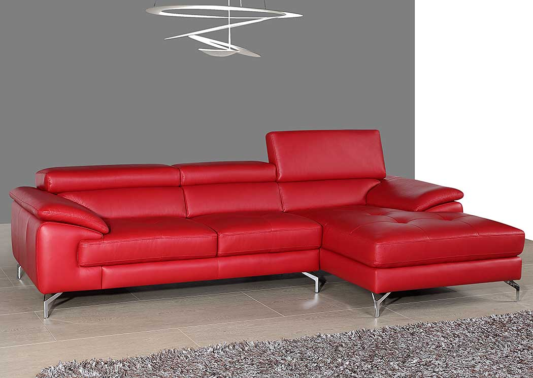 A973B Italian Leather Mini Sectional Right Facing Chaise in Red,J&M Furniture