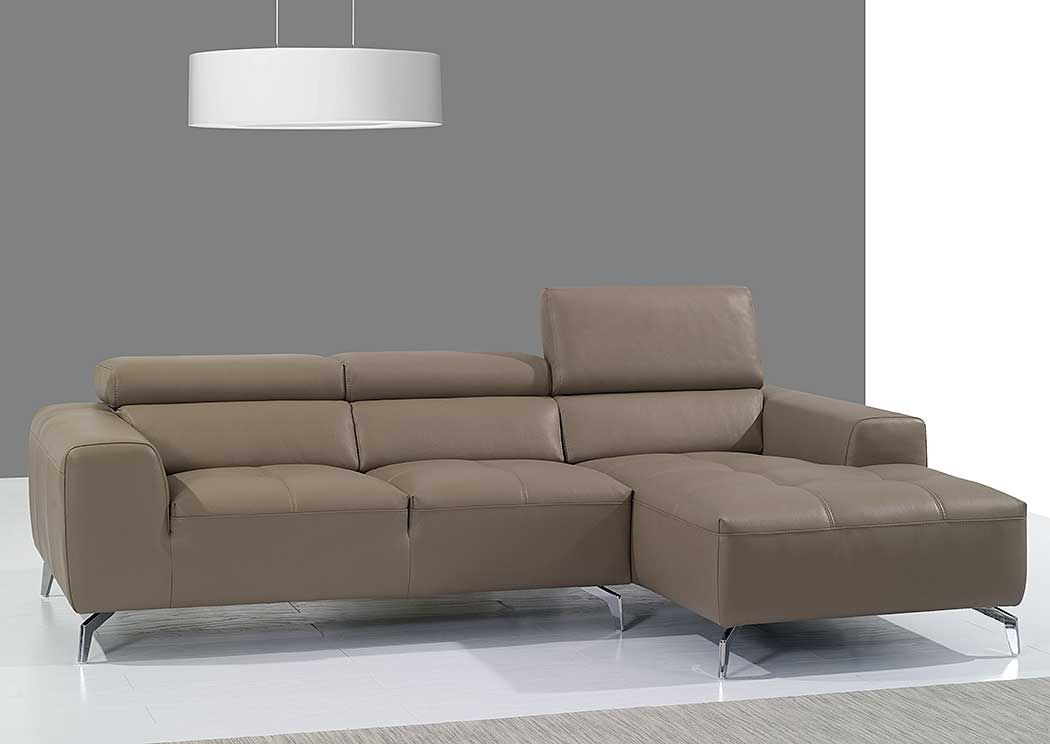 A978B Italian Leather Sectional Right Facing Chaise in Burlywood,J&M Furniture