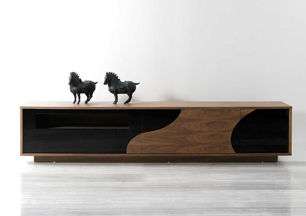 Walnut & Black Modern TV Base,J&M Furniture