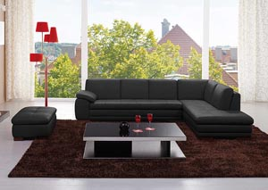 625 Italian Leather Sectional Black in Right Hand Facing