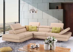 A761 Italian Leather Sectional Peanut In Left hand Facing