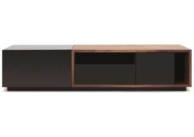 TV Stand 047 in Black High Gloss & Walnut