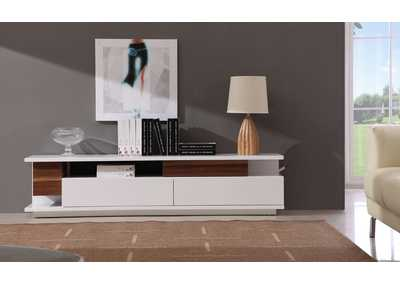 Image for TV Stand 061 in White High Gloss & Walnut