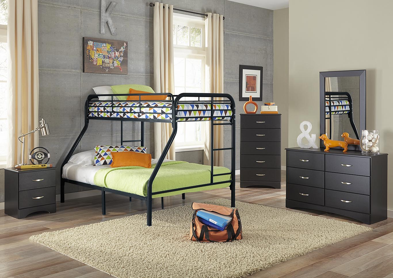 Metal Black Twin/Full Metal Bunkbed,Kith