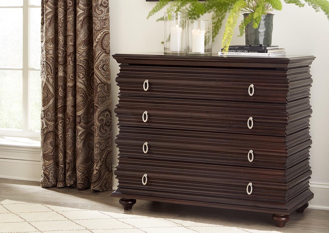 Exotic Walnut 4 Drawer Console,Kith