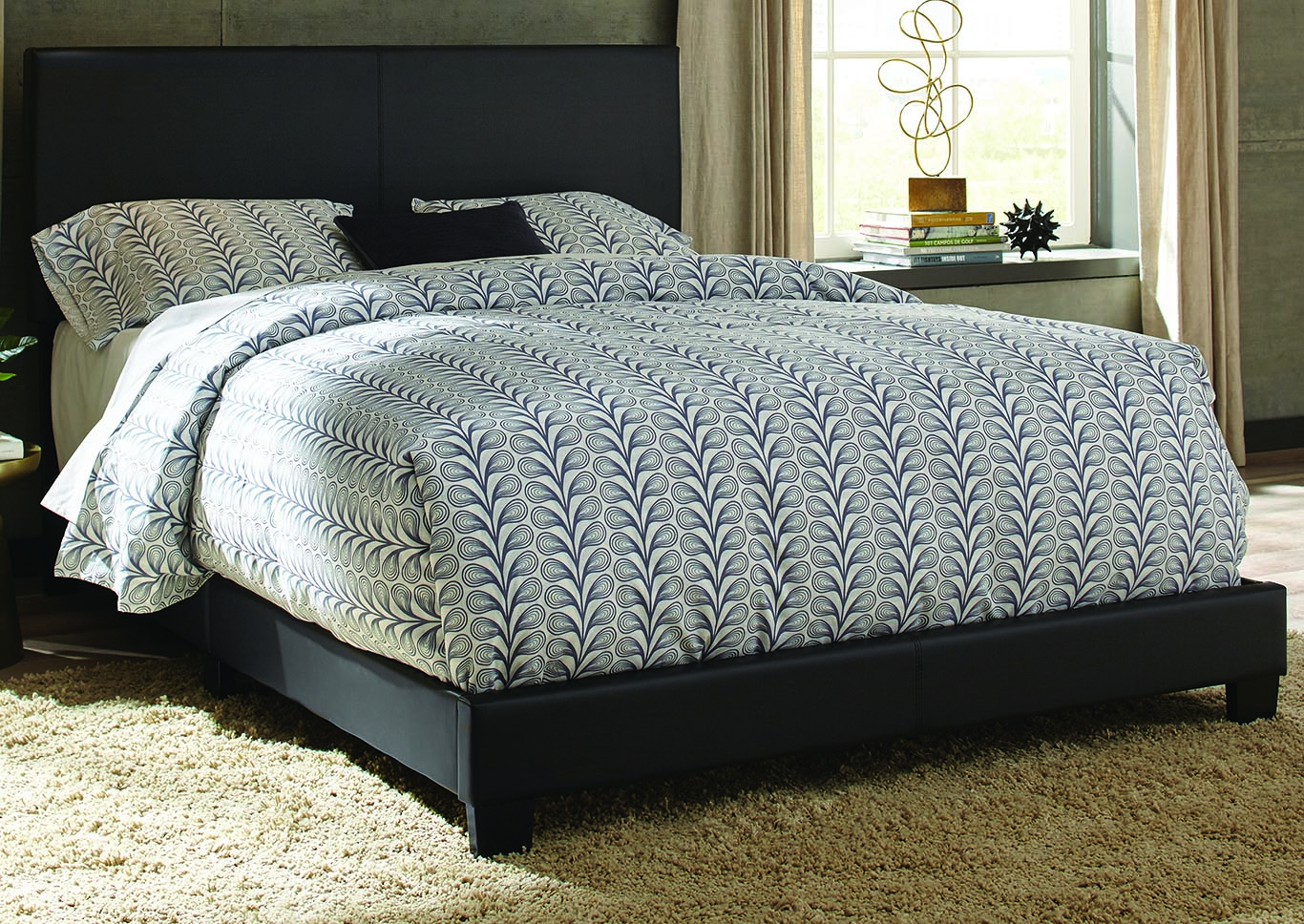 Ramon Queen Black PU Bed In One Box,Kith