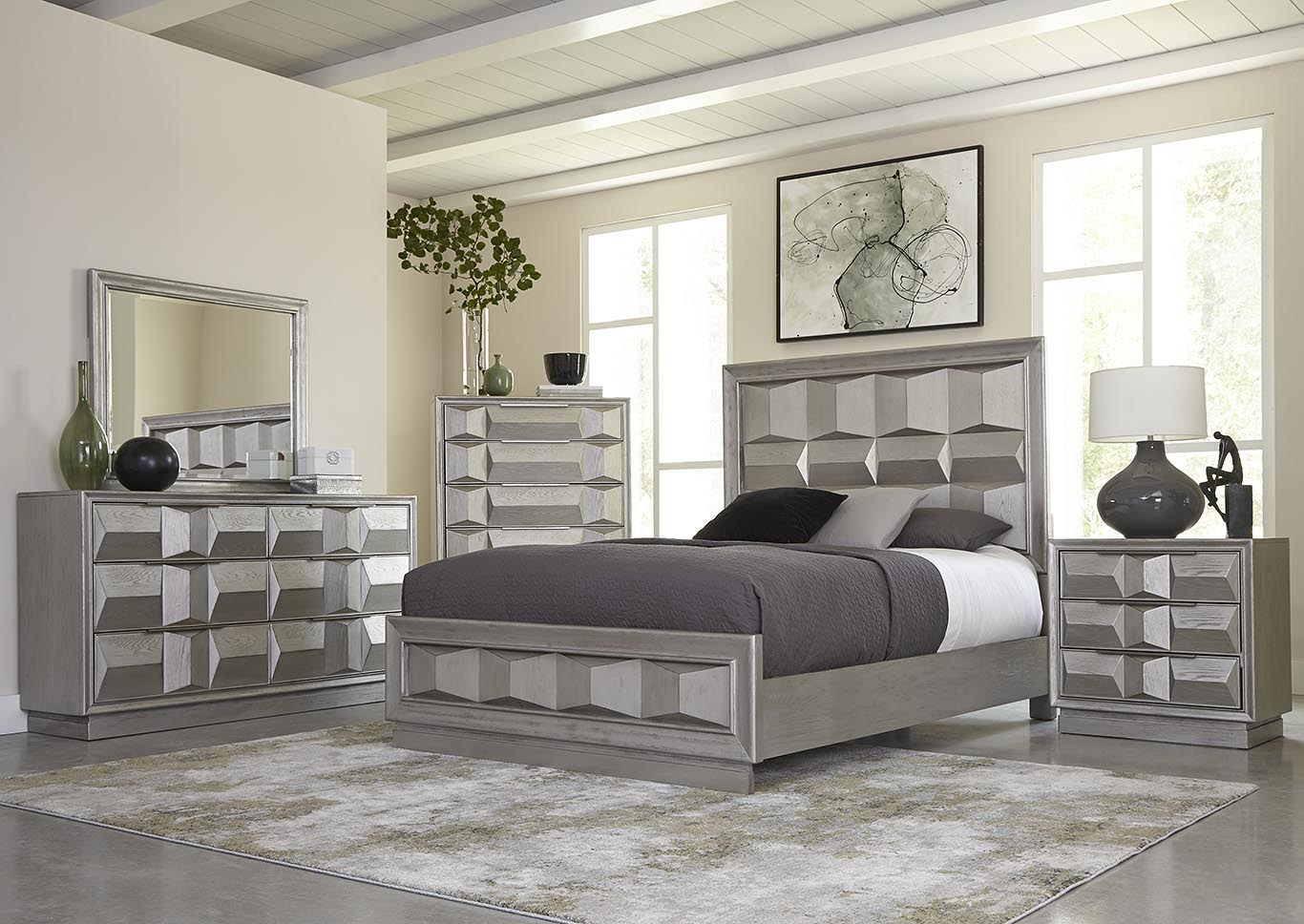 Matrix Silver King Panel Bed,Kith