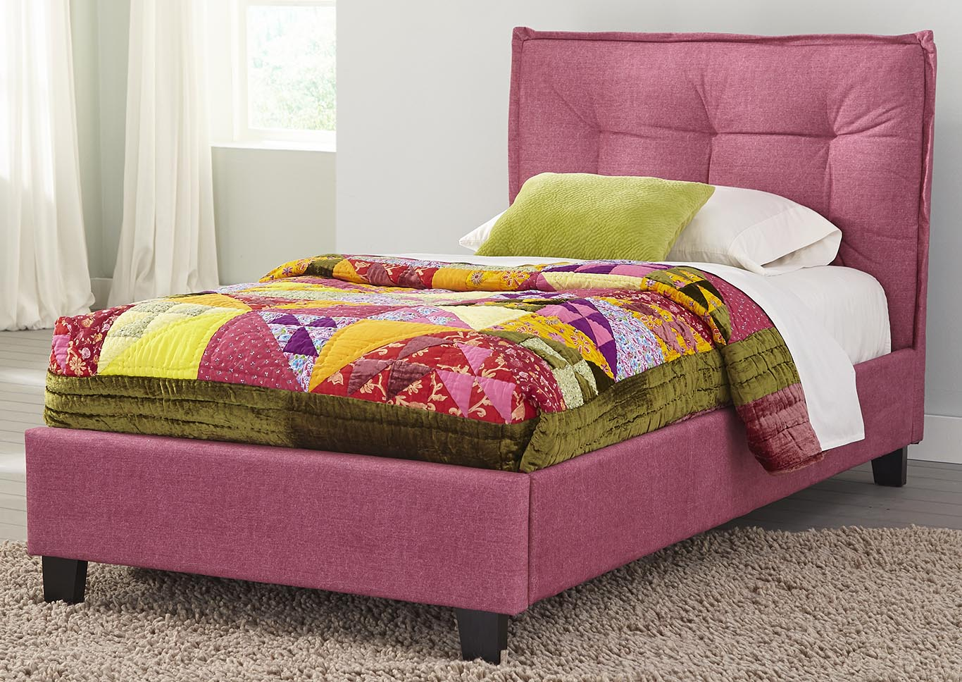 Fabric Padded Pink Full Upholstered Bed,Kith