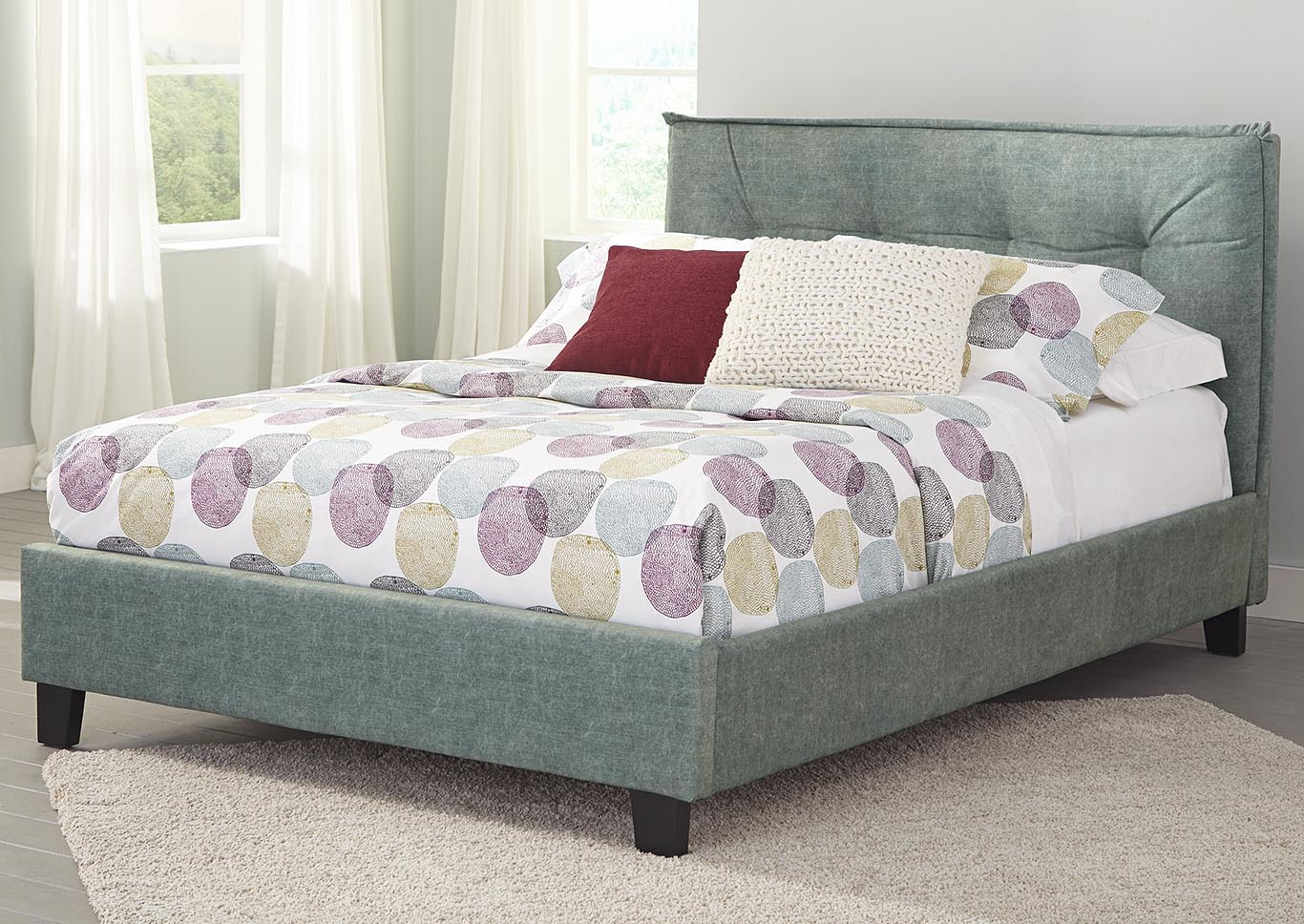 Fabric Padded Green Full Upholstered Bed,Kith