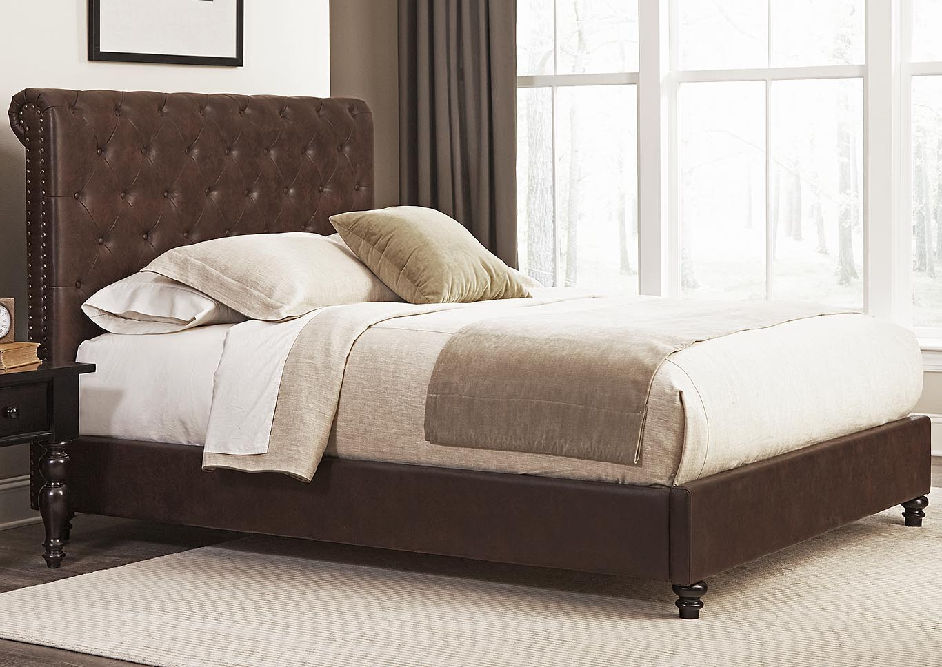 Roll Back Brown Queen Bed,Kith