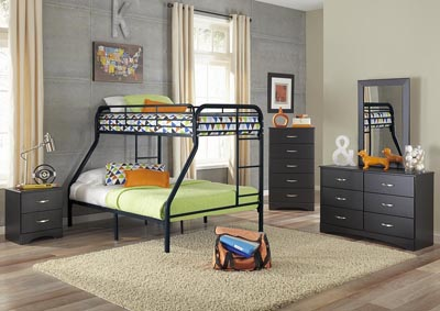 Metal Black Twin/Full Metal Bunkbed